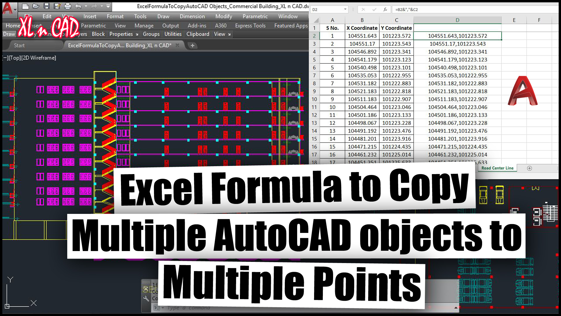 Excel formula to copy AutoCAD objects to multiple points