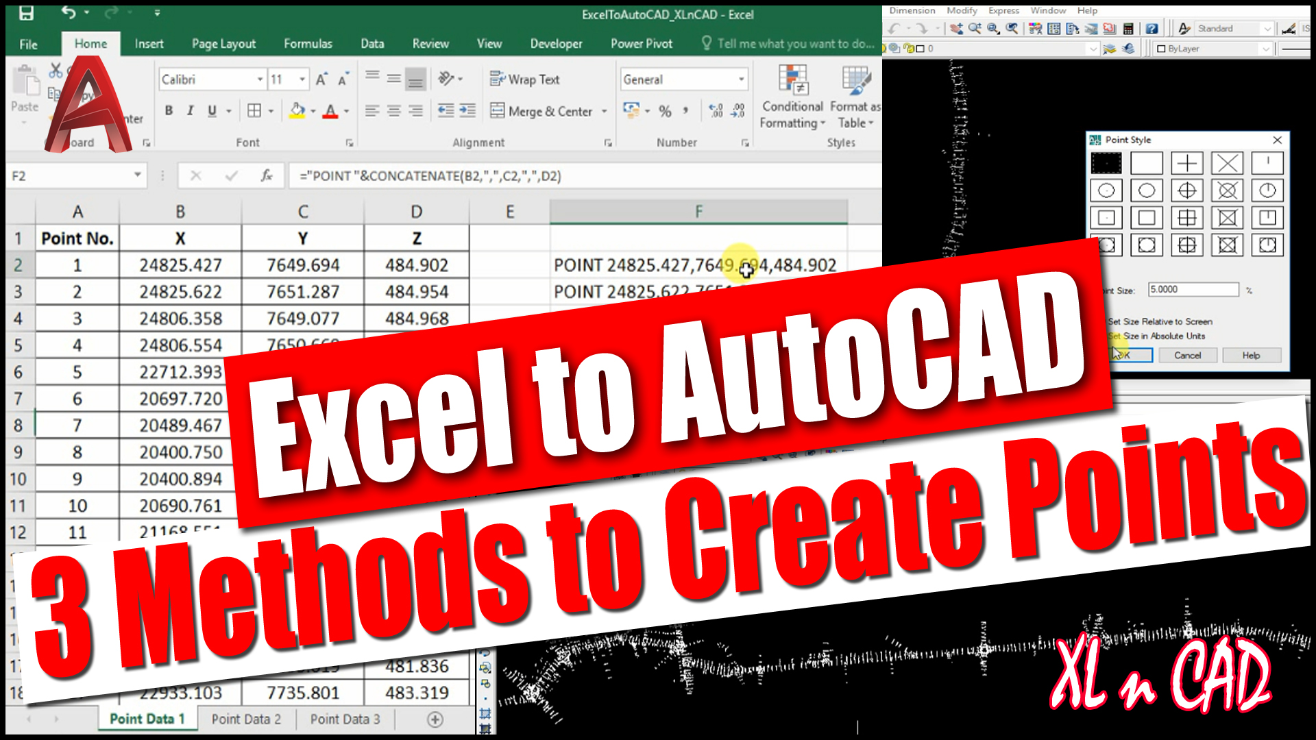 Import X, Y, Z Coordinates from Excel to AutoCAD