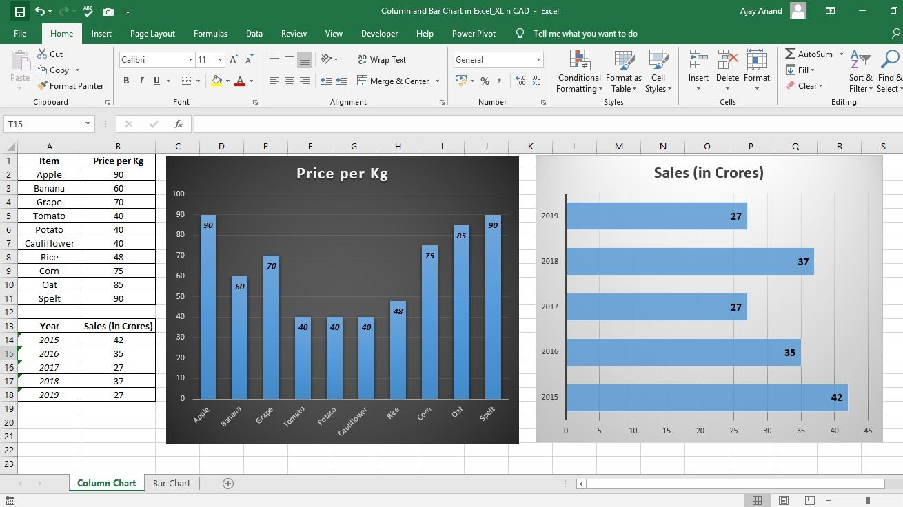 Column Chart and Bar Chart in Excel