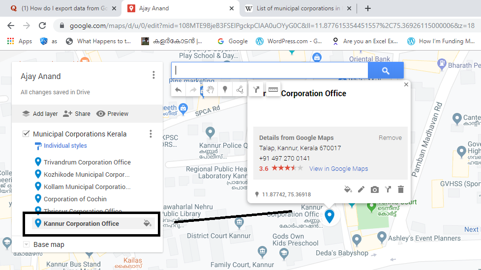 Import data from Google Maps to Excel