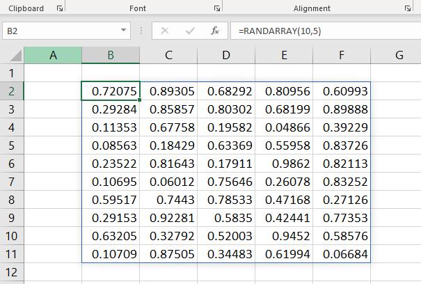Excel RANDARRAY function