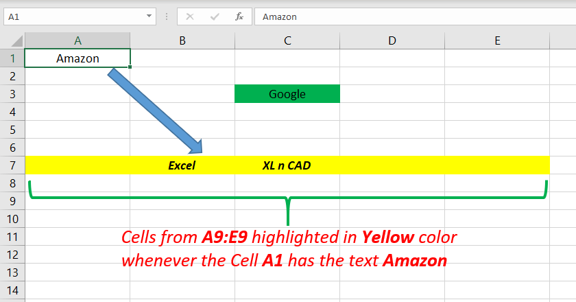 Highlight a Cell or Cells according to the Entry made in a particular Cell