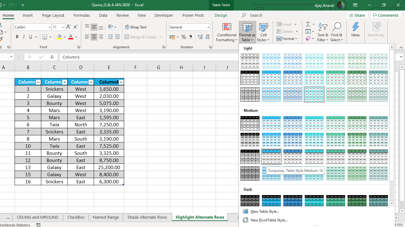 How to Shade Alternate Rows in Excel