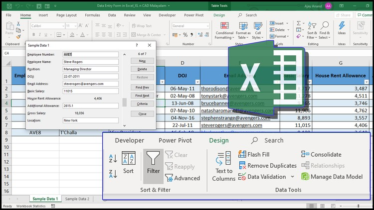 Tools and Features in Excel