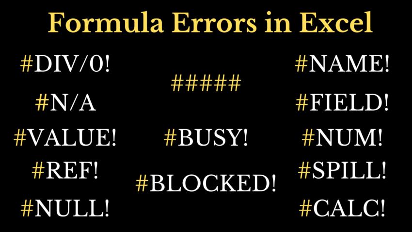 Formula Errors in Excel