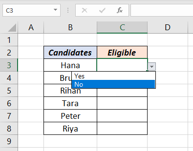 Yes or No in Drop-Down List